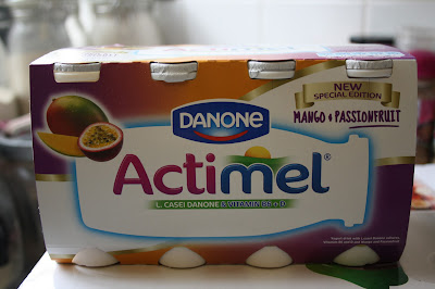 A box of six cartons of Actimel Mango and Passionfruit Yogurt