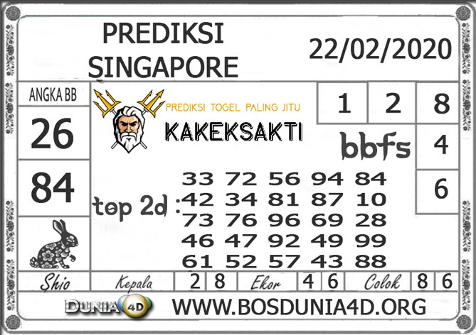 PREDIKSI TOGEL SINGAPORE DUNIA4D 22 FEBRUARI 2020