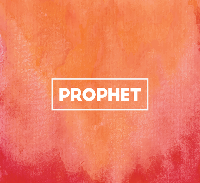 A water colour painting with the word 'prophet' on it