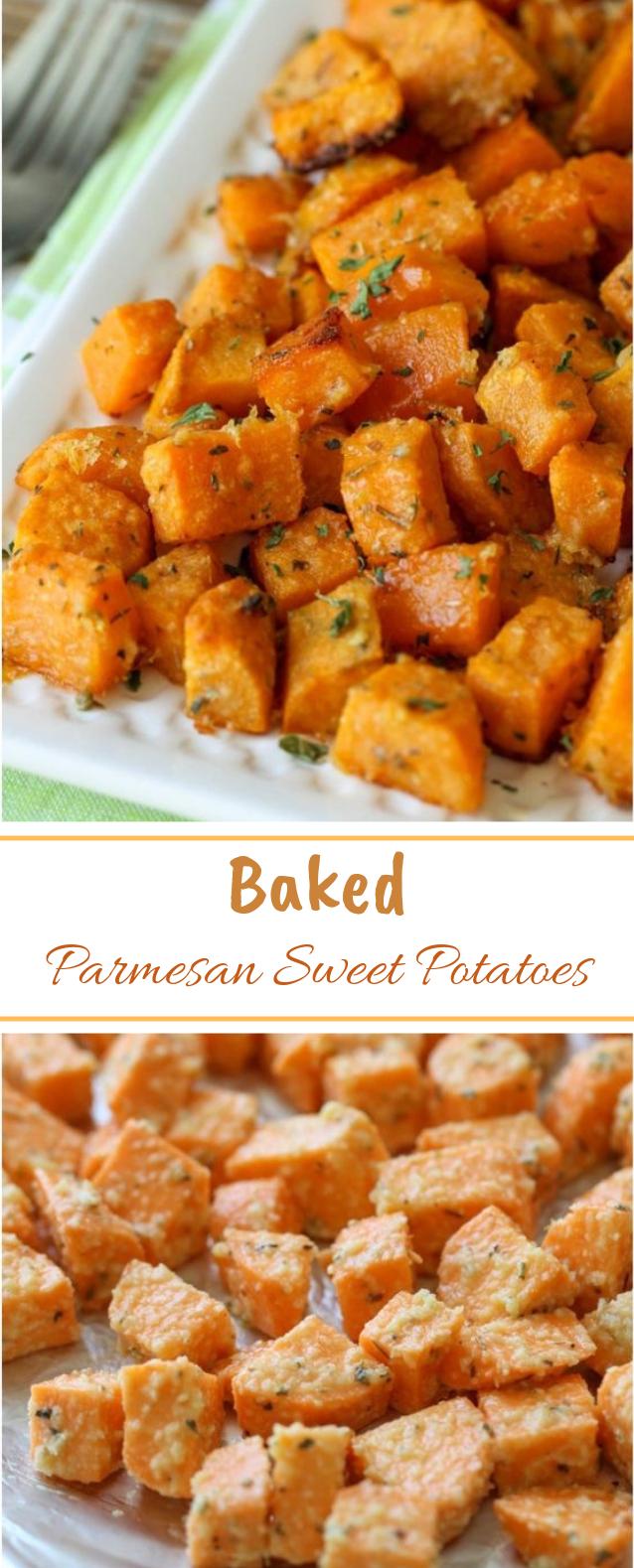 Baked Parmesan Sweet Potatoes #sidedish #vegetarian