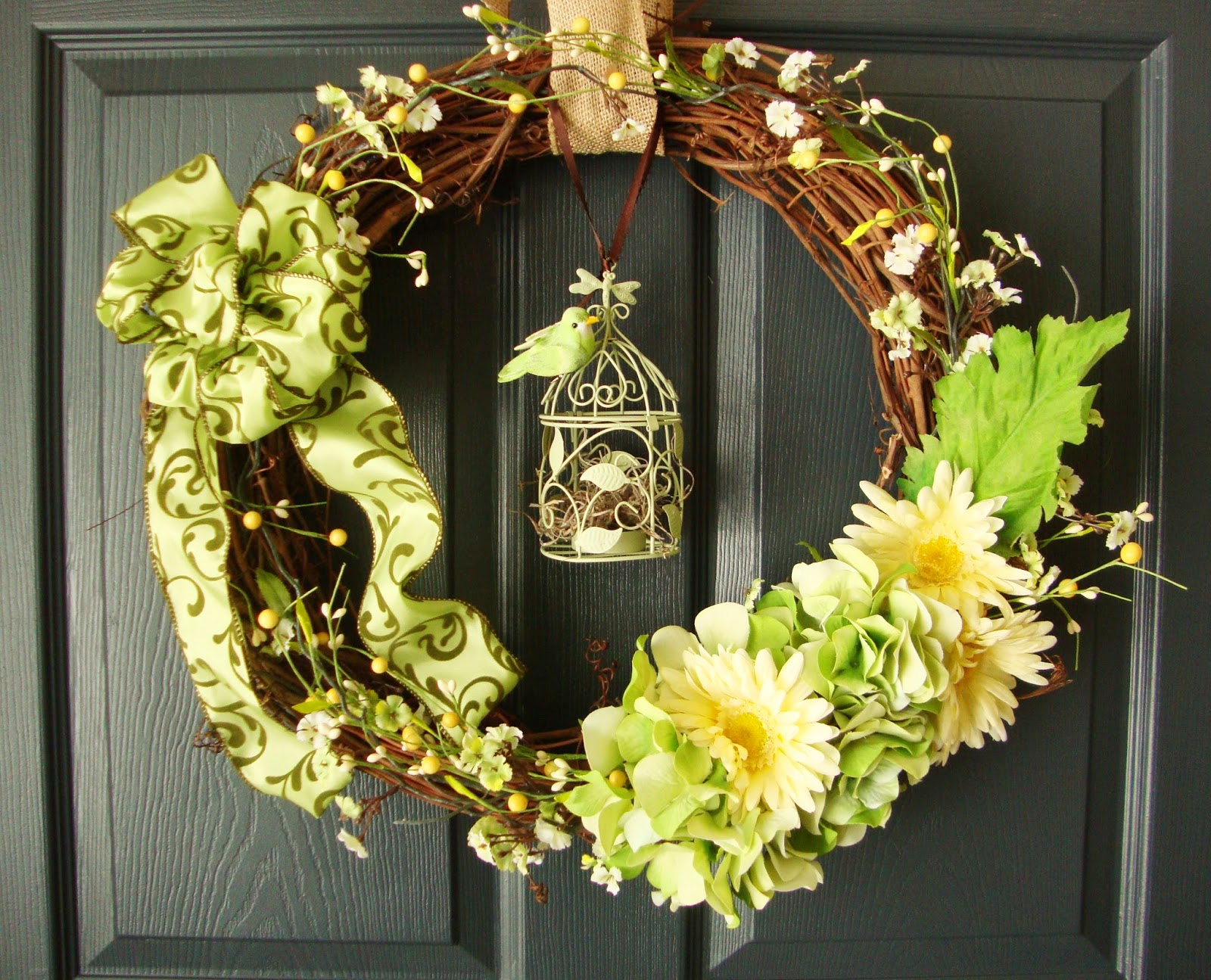 Spring Wreaths Front Door Easter Wreath Hydrangeas Daisies Birdcage Decor