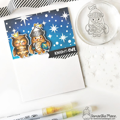 Knight Owl Card by Samantha Mann for Newton's Nook Designs, Stencil, Ink Blending, Distress Inks, Card Making, Cards #newtonsnook #cards #cardmaking #knightowl #nightowl #distressinks