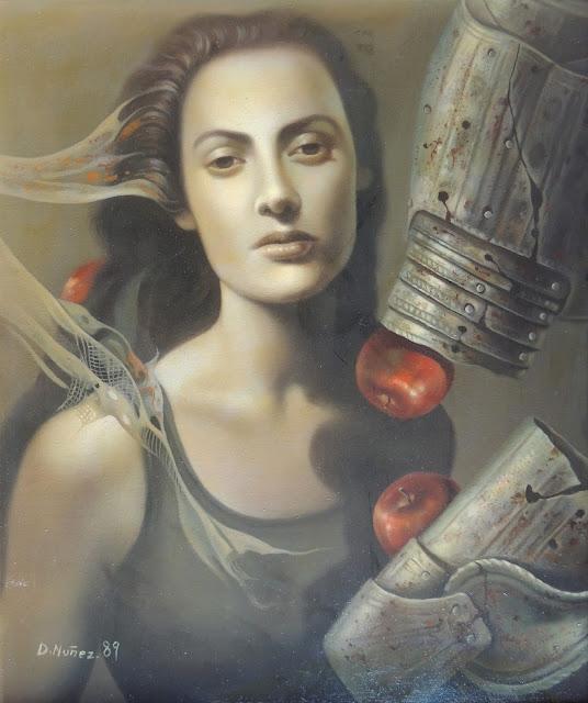Dolores Núñez arte surrealista retrato figurativo mujer y manzanas