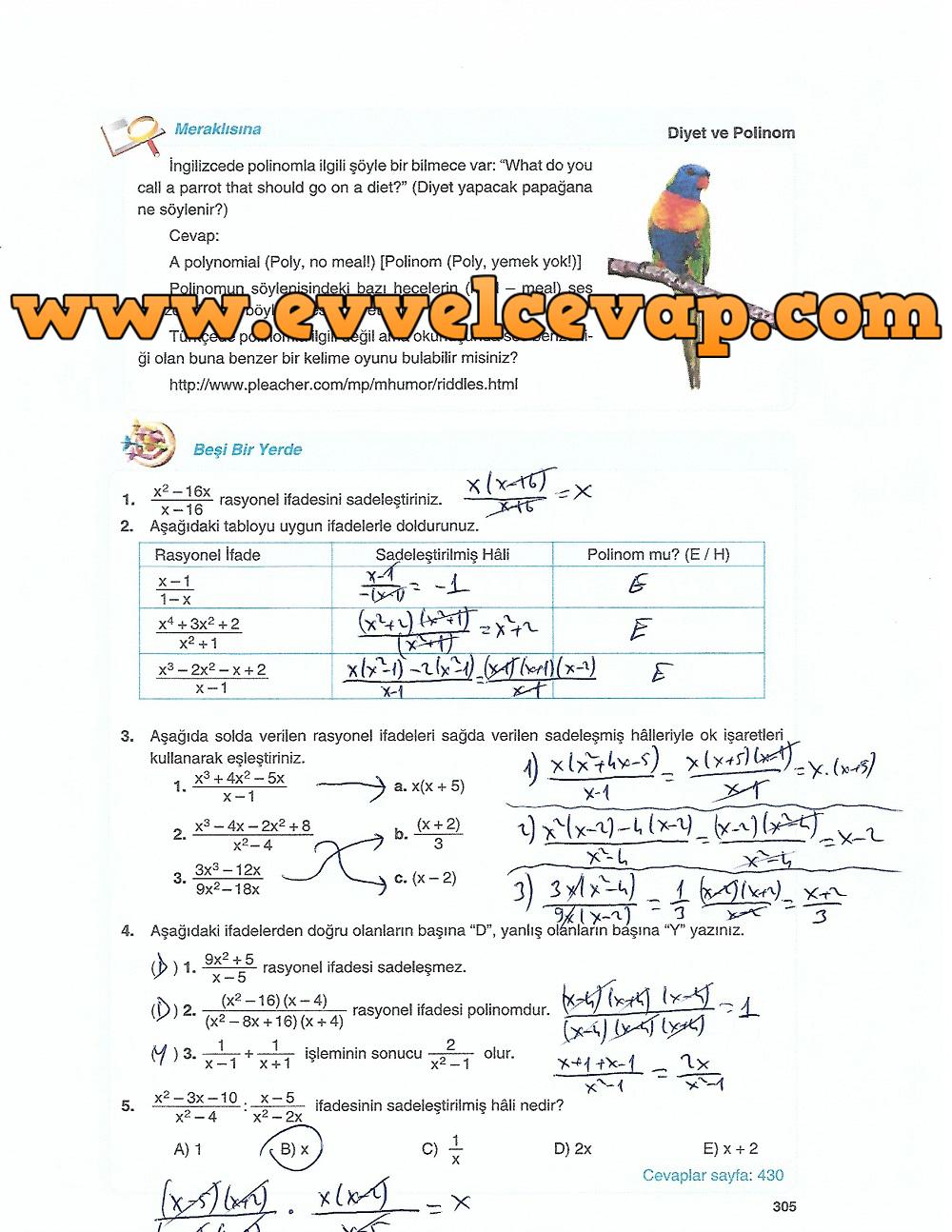 10. Sınıf Matematik Tuna Yayınları Ders Kitabı 305. Sayfa Çözümleri