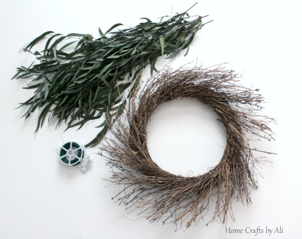 Starburst twig wreath base and other supplies for easy greenery wreath