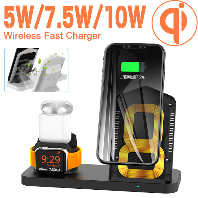 3 in 1 Qi Wireless Fast Charger Stand + Cooling Fan For iPhone Apple Watch Airpods