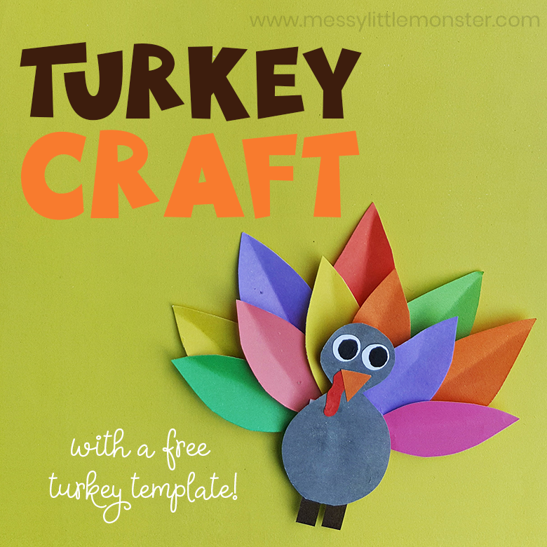 Colourful Paper Turkey Craft (plus turkey template!) An easy Thanksgiving craft for kids,  preschoolers upwards.