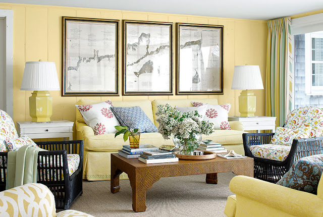 Fascinating Living Room Design With Yellow Fabric Loveseat Sofa