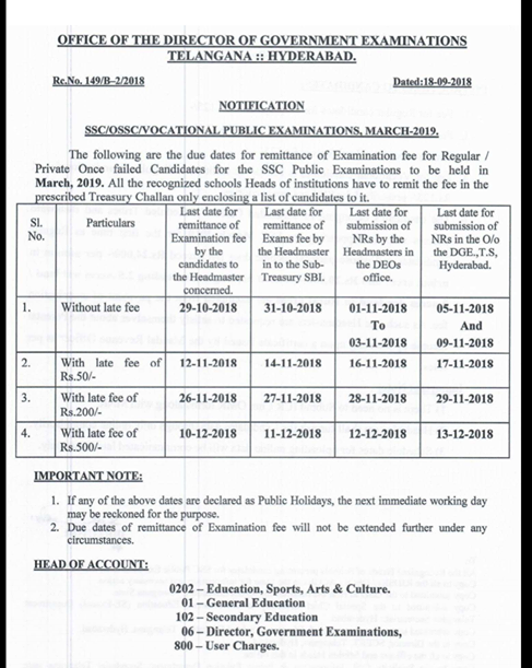 SSC/OSSC/Vocational Public Examinations, March 2019 Exams Fee Dates (10th) పదవ తరగతి పరీక్ష ఫీజు గడువు 29, అక్టోబర్ 2018/2018/09/ssc-ossc-vocational-public-examinations-march-2019-exams-fee-dates-download.html