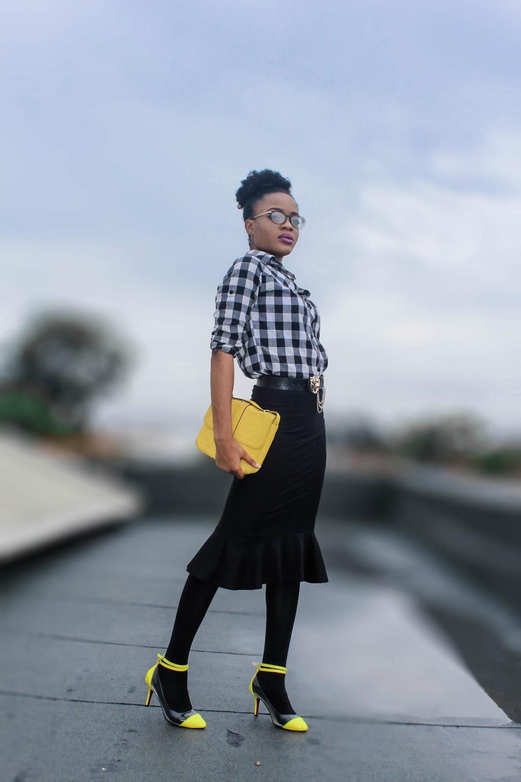 checker shirt on yellow heels