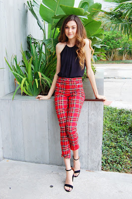 kate bartlett, plaid pants, red plaid pants, teen style, teen outfit inspo