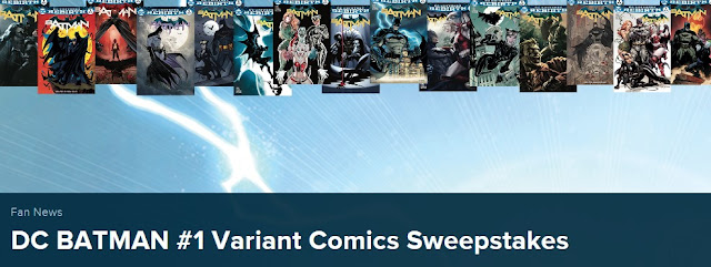 HEY BATMAN FANS! DC Comics has your chance to enter daily to win EVERY SINGLE DC BATMAN #1 variant comic book, a total of 35 comic books in all, worth over $100!