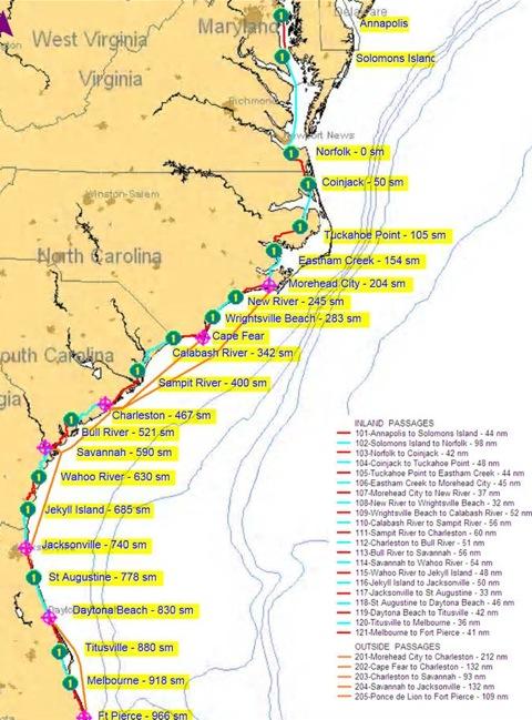 Life At 6 Kn Sailing The Loop Mile Zero Portsmouth Va A - Us-intracoastal-waterway-map