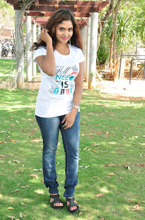 Karunya Chowdary Stills in Jeans at Veda Enterprises Movie Launch ~ Celebs Next