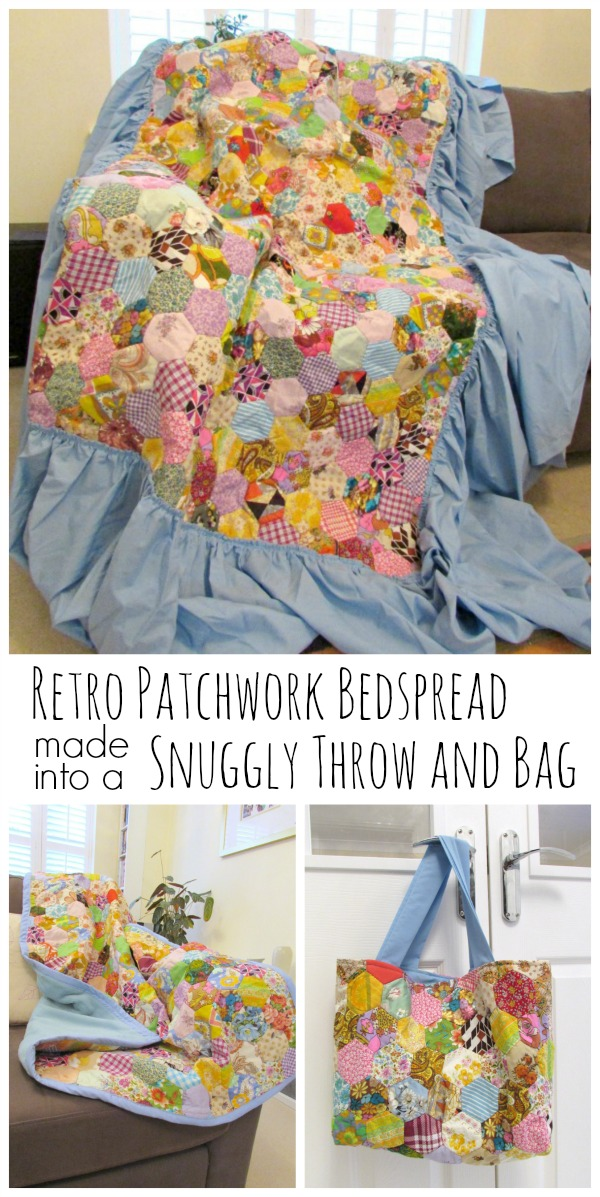 Retro bedspread upcycled into a bag and throw