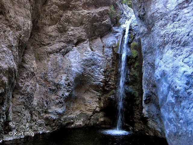 A deep pool below the second falls allows for sliding off the top, or jumping from even higher up.