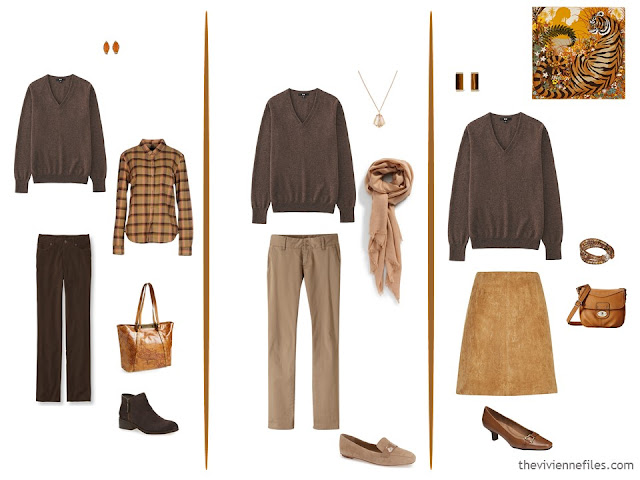 3 ways to wear a brown v-neck sweater in a capsule wardrobe