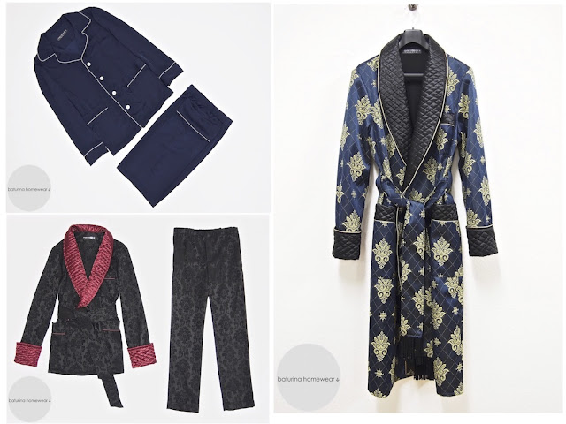 Men's luxury silk dressing gown and pajamas