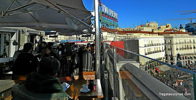 Rooftop bar Puertasol, no terraço de El Corte Inglés, Porta do Sol, Madri