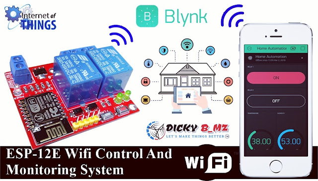 """ESP-12E Wifi Control And Monitoring System ( 2 Channel Relay + DHT 11) ESP8266 """" Smart Home / Home Automation"""""""