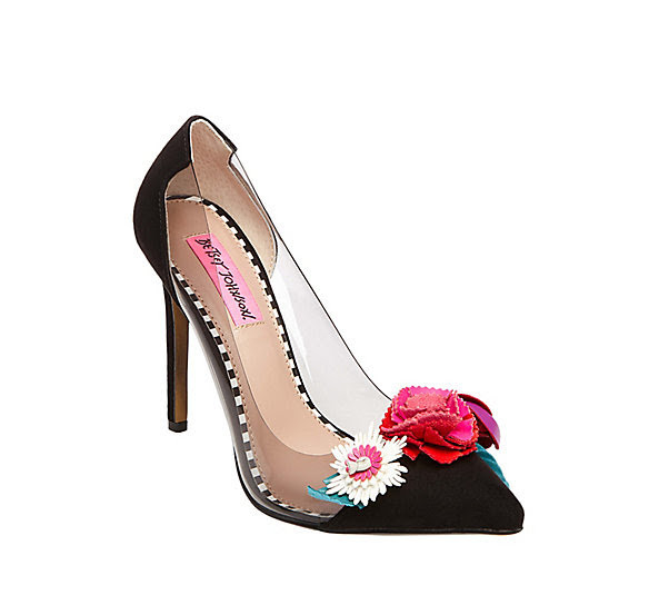 Betsey Johnson Floral pump with perspex inserts.