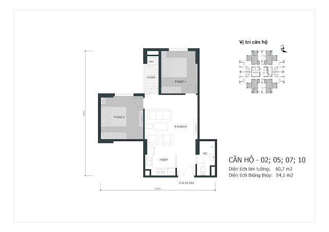 Thiết kế căn hộ số 02-05-07-10 (dt thông thủy 54,1m2)