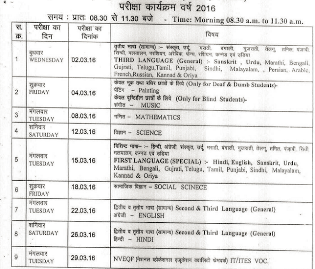 MP Board 10th Class Time Table 2016 Download at mpbse.nic.in