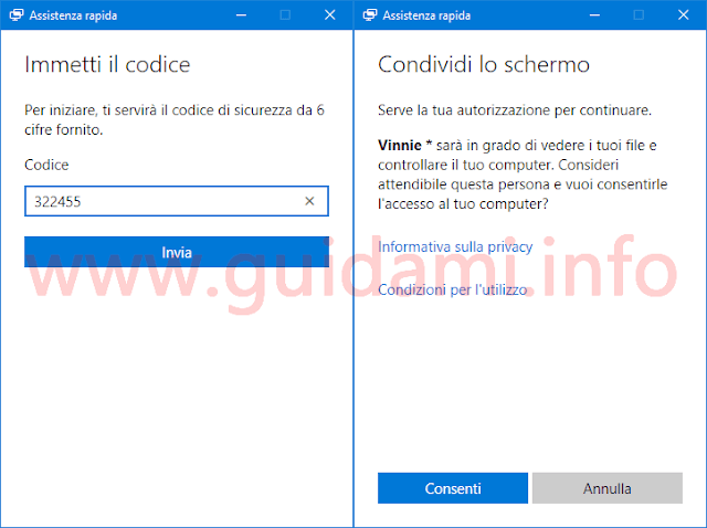 Windows 10 app Assistenza rapida immettere codice per connessione remota