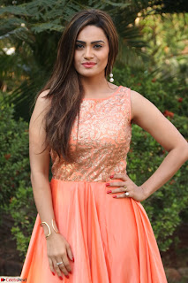 Actress Sakshi in beautiful orange Anarkali Dress Spicy Pics    019.jpg