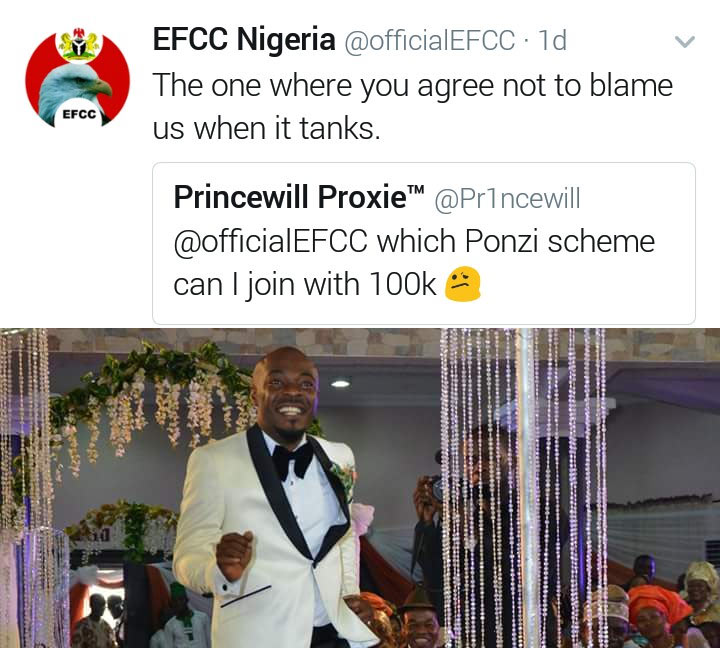 Which Ponzi scheme should I invest my 100k? EFCC gives epic reply