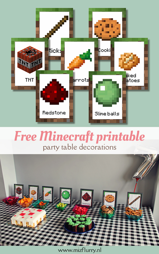 free minecraft printable - party table decorations