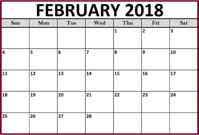 February 2018 Blank Printable Calendar Images, February 2018 Printable Calendar, February 2018 Blank Calendar, free February 2018 Blank Calendar