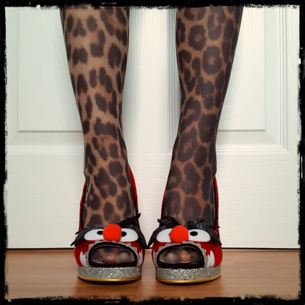 front view wearing Irregular Choice Muppets Animal Louder Louder peep toes