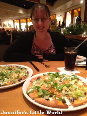 Eating pizza at California Pizza Kitchen