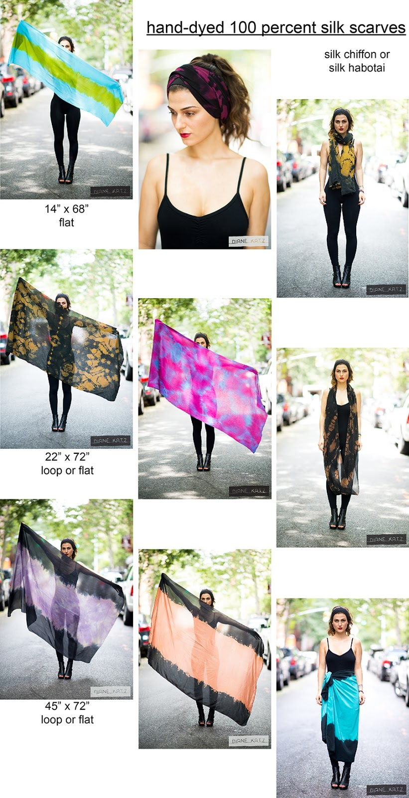 size and price menu for silk scarves