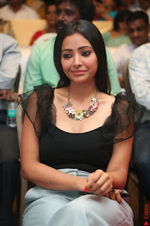 Swetha Basu in a Black Sleeveless Top Long Skirt at Mixture Potlam Movie Audio Launch 025.JPG