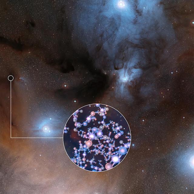 Ilustração artística do isocianato de metila detetado nas estrelas IRAS 16293-2422