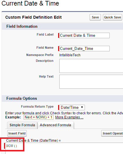 Infallible Techie: Formula field to show Current Date and