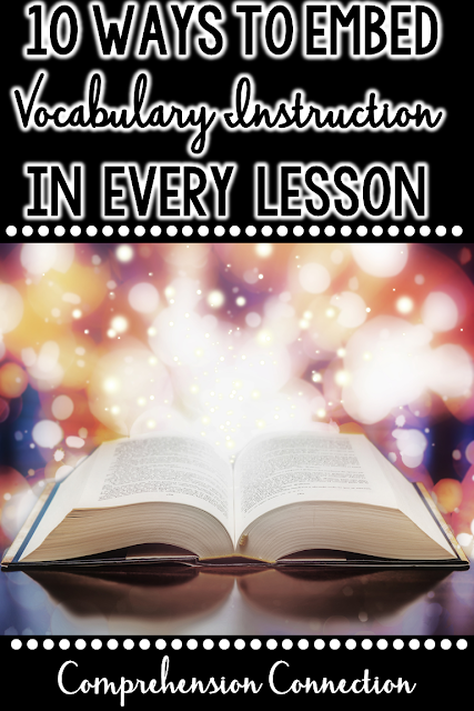 This post includes ten engaging ways you can embed vocabulary instruction into all of your lessons, daily routines, and activities. Latch onto children's natural curiosity by making word learning fun. Freebies included.