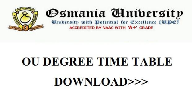 OU degree exam time table 2018-2019 Pdf exam dates