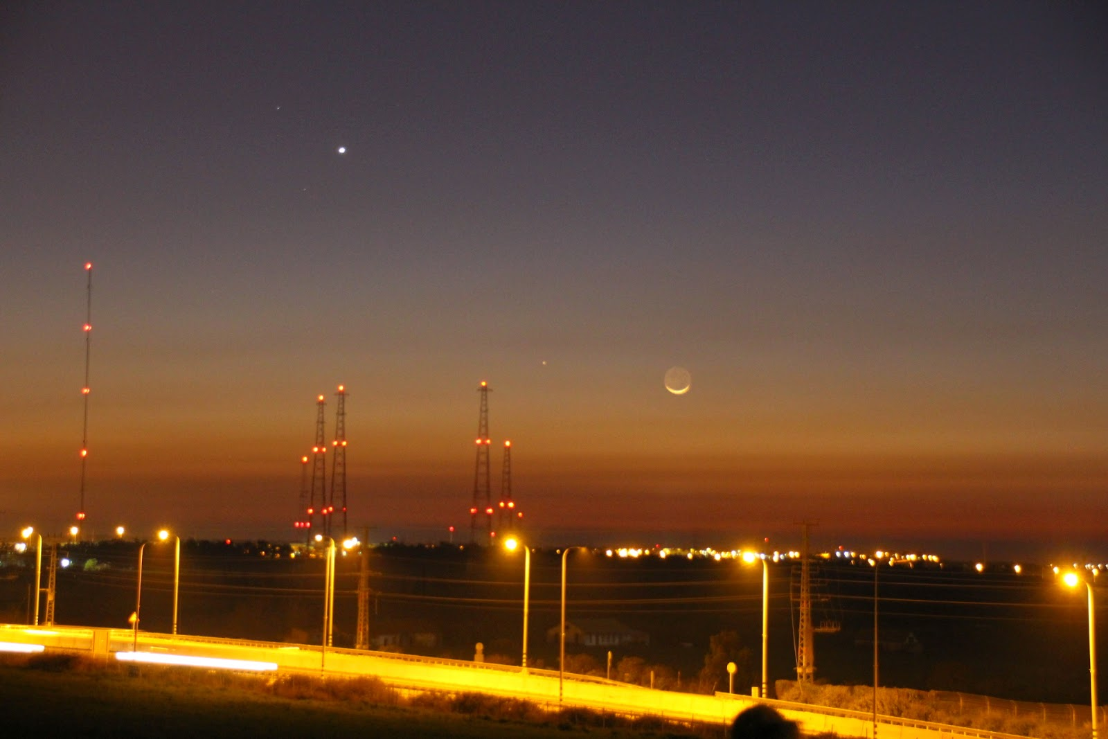 The new moon Venus and Mercury