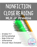 Nonfiction Close Reading MLK Jr. Free Product