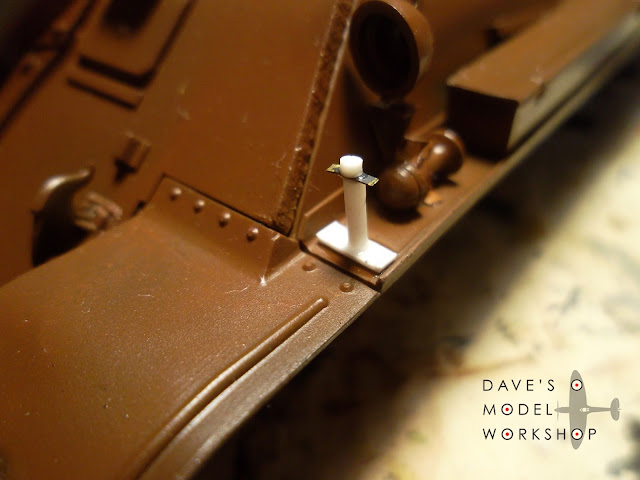 Scratchbuilt fender tow clamp bracket for my Tamiya SU-122