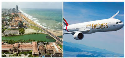Source: Emirates. Aerial view of Colombo and a plane in the Emirates livery.