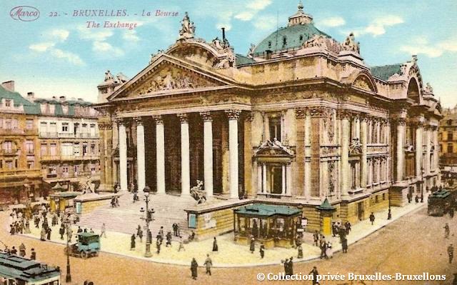 Bruxelles - Place et Palais de la Bourse - Début du XXe siècle - Bruxelles-Bruxellons