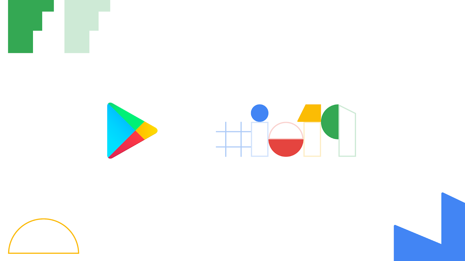 Play and #io19 logos with geometric shapes