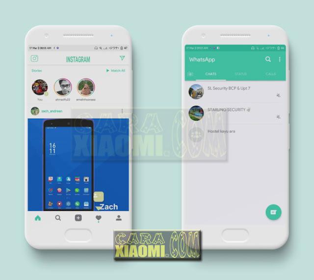 Download Link MIUI Theme V9 Green Flat Minimal Mtz For Xiaomi Terbaru