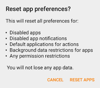 Allow Permission to Reset All Preferences