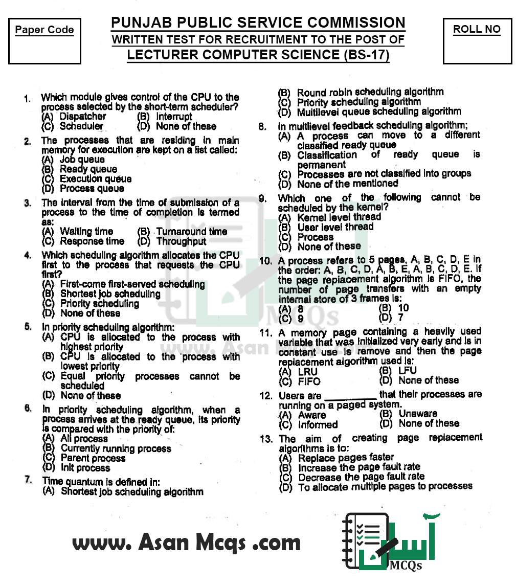 PPSC Lecturer Computer Science (BS-17) Past Paper | Original