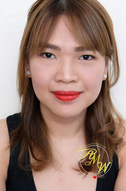a photo of askmewhats wearing CLIO Mad Matte Lipsticks  review in shades Crimson Rose, Mellow Rose, Juicy Papaya and Deep Cranberry